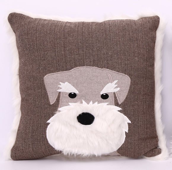Scottie Dog Style Brown Coloured Cushion - Caths Direct
