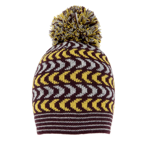 Dents Plum & Dove Grey Knitted Hat Chevron Pattern - Caths Direct