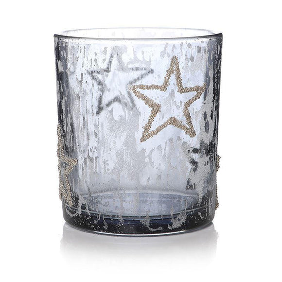 Blue Glass Candle Holder Glitter Stars