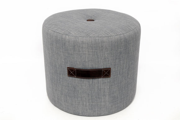 Grey Fabric Round Footstool