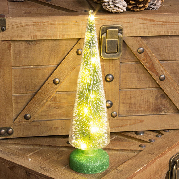 Green LED Christmas Tree Cloche - Caths Direct