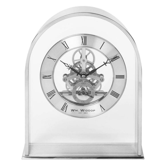 Wm Widdop Silver Arch Mantel Clock with Skeleton Dial - Caths Direct