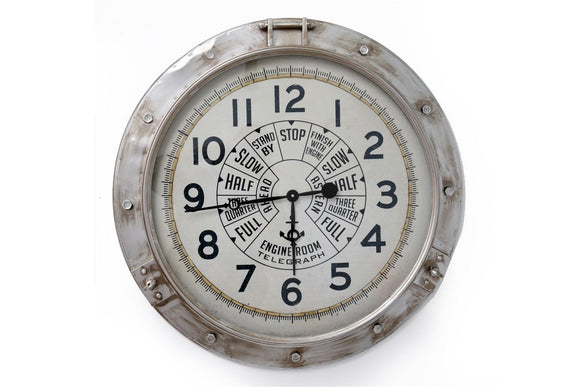 Large Engine Room Style Metal Wall Clock