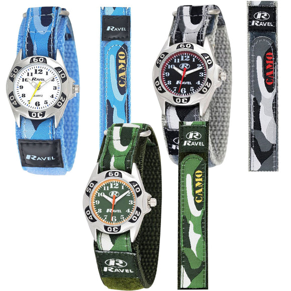 Childrens/Kids/Boys Velcro Strap Army Camouflage Watch - Caths Direct