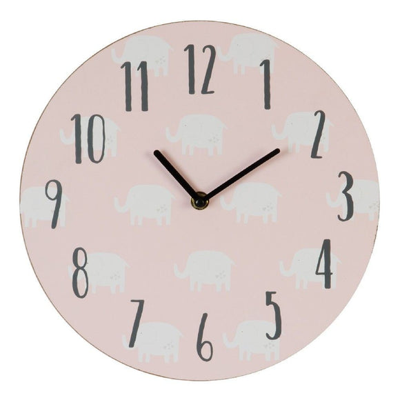 Elephant Design Pink Nursery Wall Clock - Caths Direct