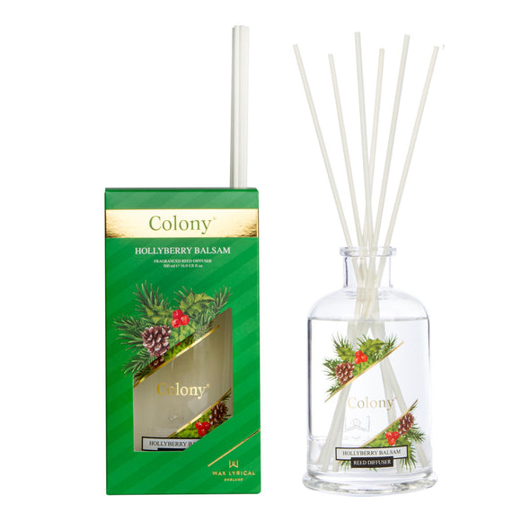 Wax Lyrical Colony Classic Christmas Hollyberry Balsam 500ml Reed Diffuser - Caths Direct