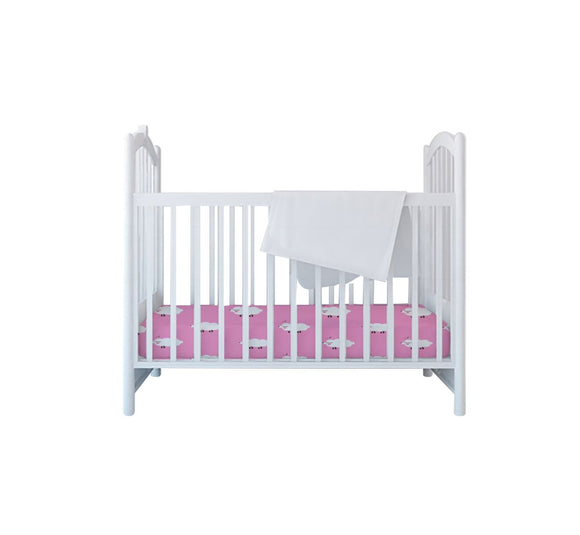 Bullabaloo Cot Sheet - Pink Sheep - Caths Direct