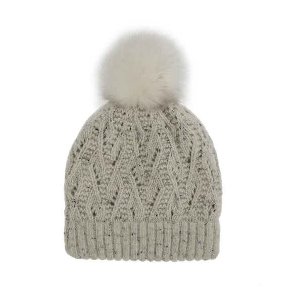 Dents Lace Knit Beanie Hat with Marl Yarn & Pom Pom in Winter White