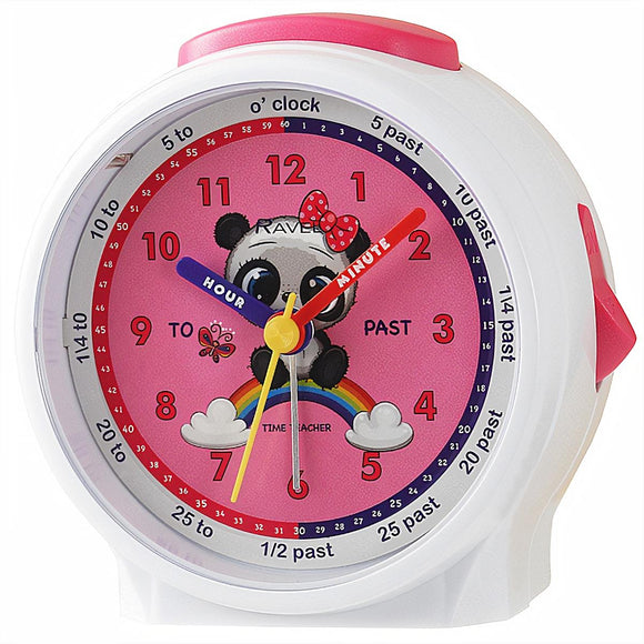 Ravel Kids Time Teacher Panda Pink Dial White Alarm Clock - Caths Direct
