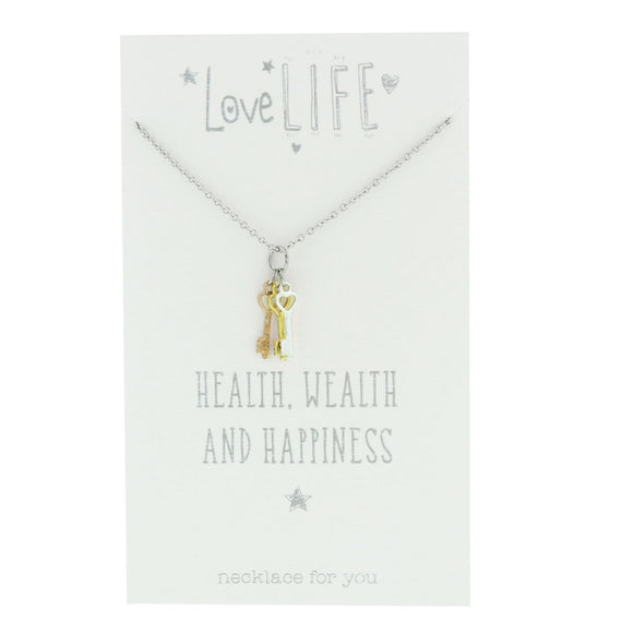 Love Life Sentiment Necklace Health Wealth & Happiness - Caths Direct