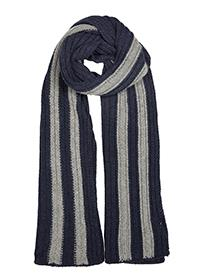 Dents Mens Knitted Scarf with Contrasting Stripes Navy with Grey - Caths Direct