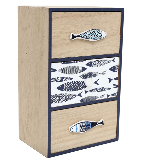 Small 3 Drawer Unit Fish Design - Caths Direct