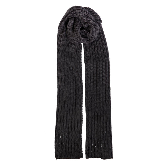 Dents Black Rib Knitted Scarf with Beaded Border - Caths Direct