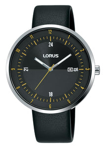 Lorus Gents Black Contemporary Watch with Black Strap - Caths Direct