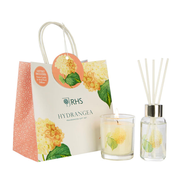 RHS Fragrant Garden Hydrangea Gift Bag Wax Lyrical - Caths Direct