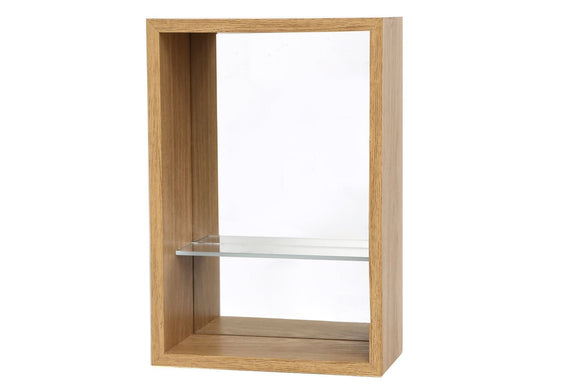 Wood Veneer Shelf Unit with Mirror Back 41cm x 31cm - Caths Direct