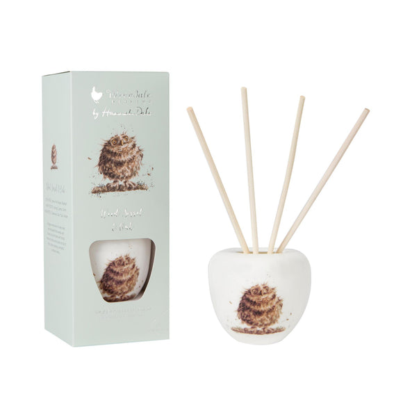 Wrendale Owl Illustration Ceramic Reed Diffuser Set 200ml Woodland - Caths Direct
