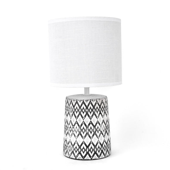 Hestia Etched Base Table Lamp with White Shade - Caths Direct