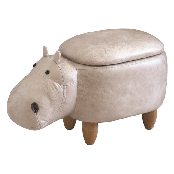 Cream Leather Effect Hippo Storage Footstool