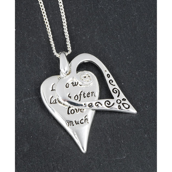 Silver Plated Hearts Pendant Necklace Live Laugh Love - Caths Direct