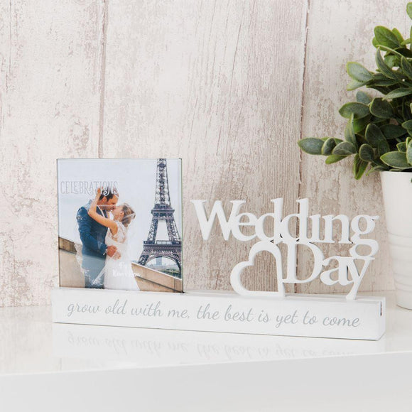 White Wedding Day Photo Holder on Plinth