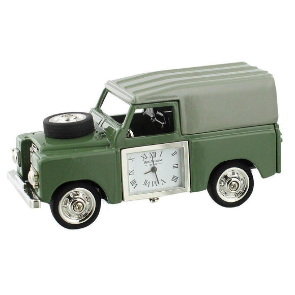Miniature Clock Vintage Green Land Rover Style - Caths Direct