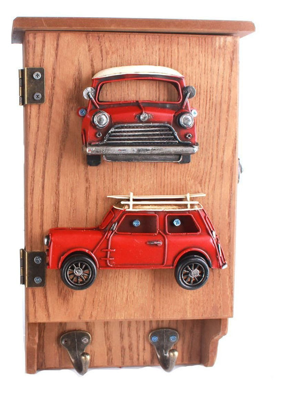 Retro Red Car Design Wooden Key Box
