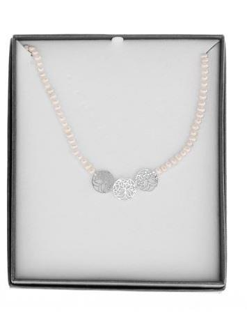 Pearl Necklace with Filigree Circles - Caths Direct
