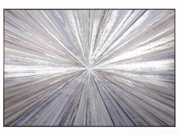 Starburst Framed Wrapped Silver Canvas Picture - Caths Direct