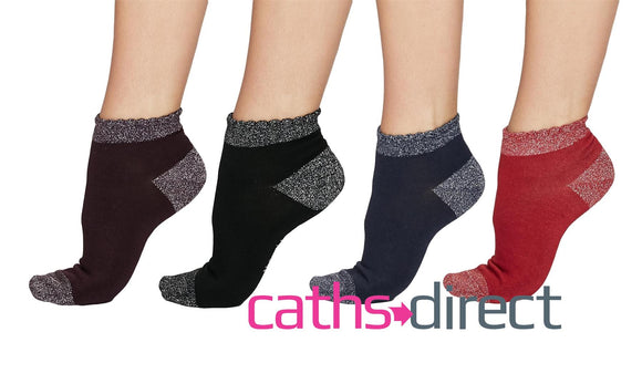 Ladies Soft Bamboo Glister Glitter Ankle Socks Size 4-7 by Thought - Caths Direct