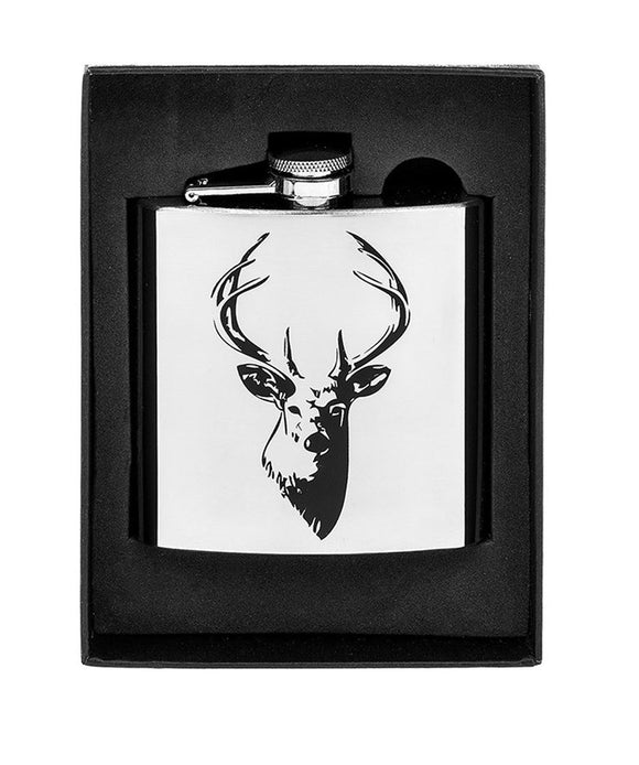 Stainless Steel Stags Head Design Hip Flask Boxed - Caths Direct