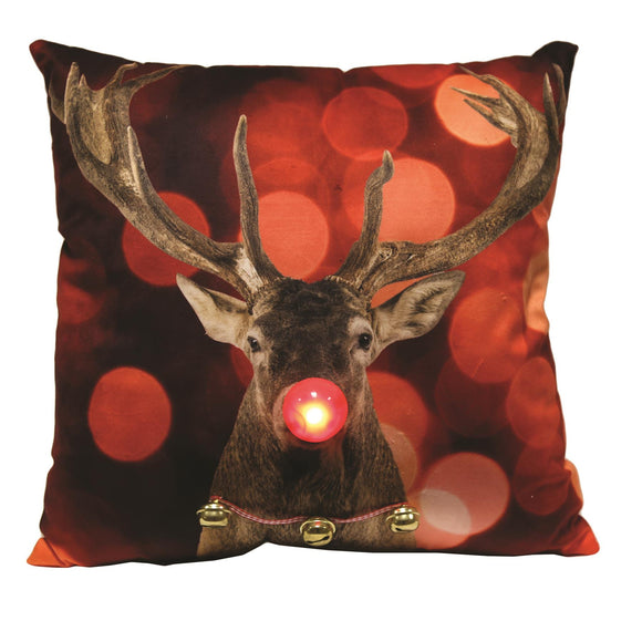 LED Rudolph the Red Nosed Reindeer Christmas Cushion 45cm