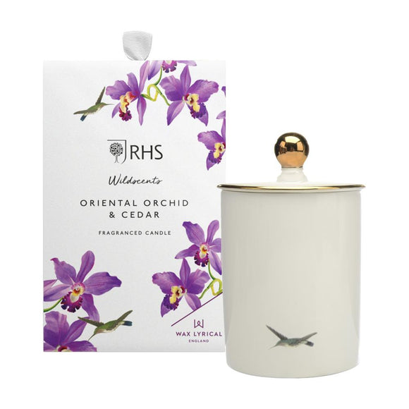 Wax Lyrical RHS Wildscents Oriental Orchid & Cedar Ceramic Candle - Caths Direct