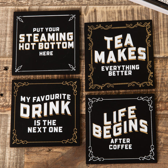 Set of 4 Brewmaster Coasters - Tea Makes Everything - Caths Direct