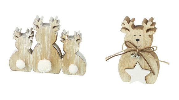 Christmas Wooden Reindeer Set - Caths Direct
