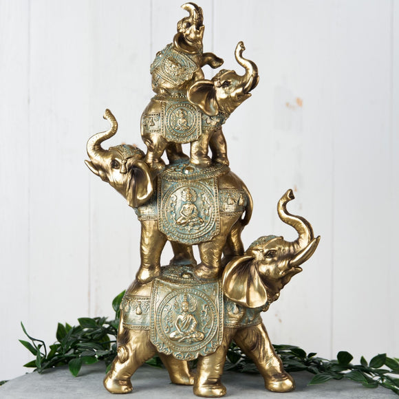 Bronze Effect Stacked Elephants Figurine - Caths Direct