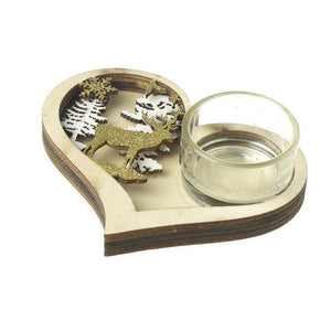 Christmas Heart Tea Light Candle Holder - Caths Direct