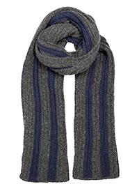 Dents Men's Knitted Scarf with Contrast Stripes Charcoal & Navy - Caths Direct