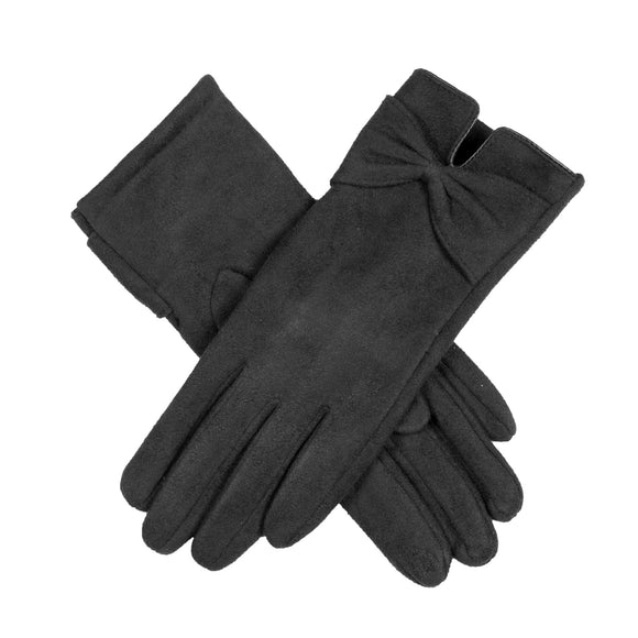 Dents Ladies Faux Suede Touchscreen Gloves with Bow in Black - Caths Direct