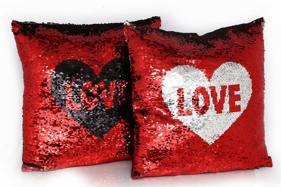 Sequin Love Cushion Colour Changing - Caths Direct