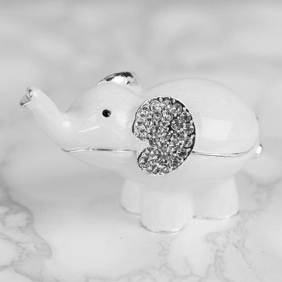 White Elephant & Crystal Trinket Box - Caths Direct