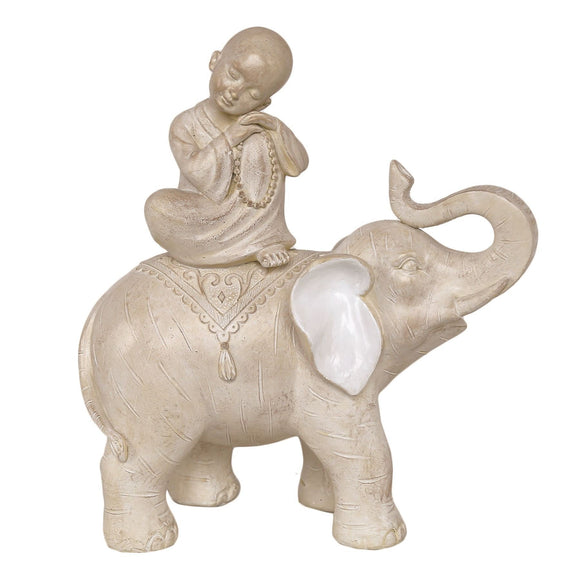 Elephant & Monk White Figurine