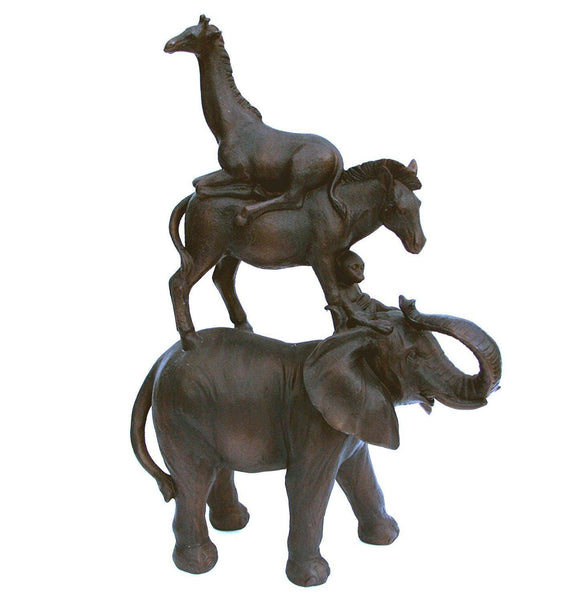 Bronze Effect Animals Stacked Ornament