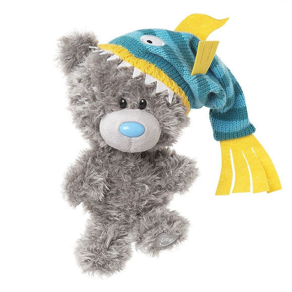 My Dinky Bear Wearing Striped Blue Fish Design Hat From Me To You