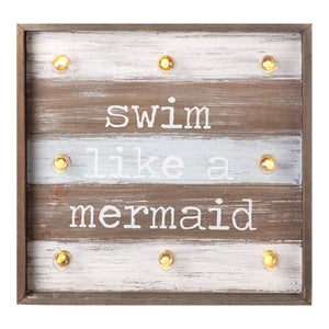 Swim Like A Mermaid LED Light Up Square Wooden Sign - Caths Direct