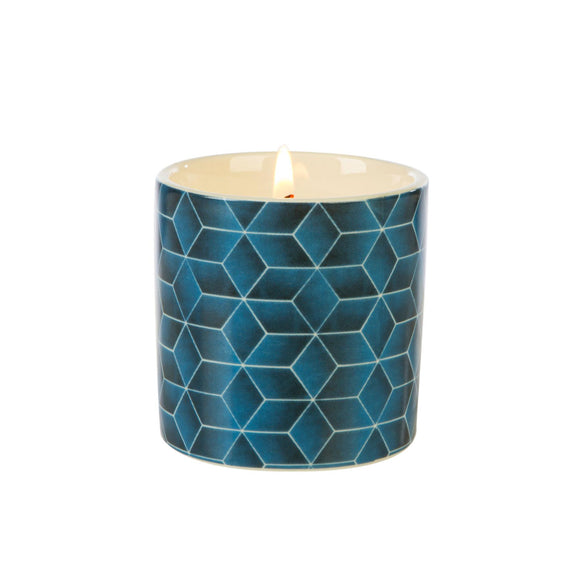 Fired Earth Design Small Ceramic Candle Assam & White Cedar - Caths Direct