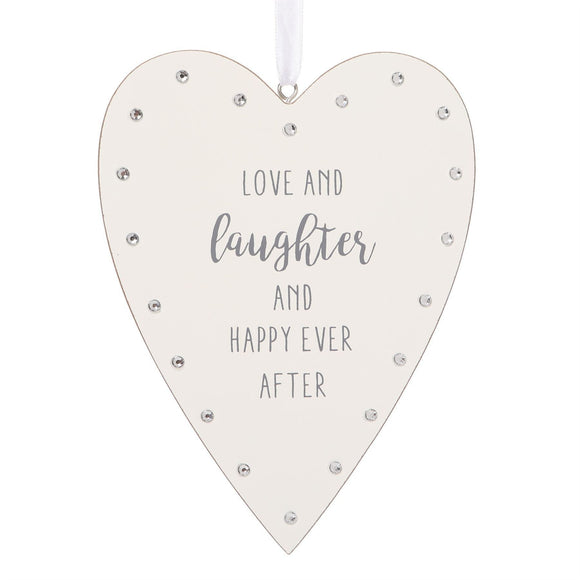 White Heart Wall Plaque Love & Laughter Happy Ever After