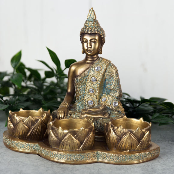 Verdigris Bronze Finish Buddha Triple Tea Light Candle Holder - Caths Direct