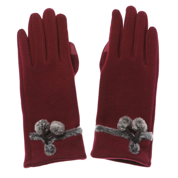 Ladies Red Meryl Gloves with Pom Poms