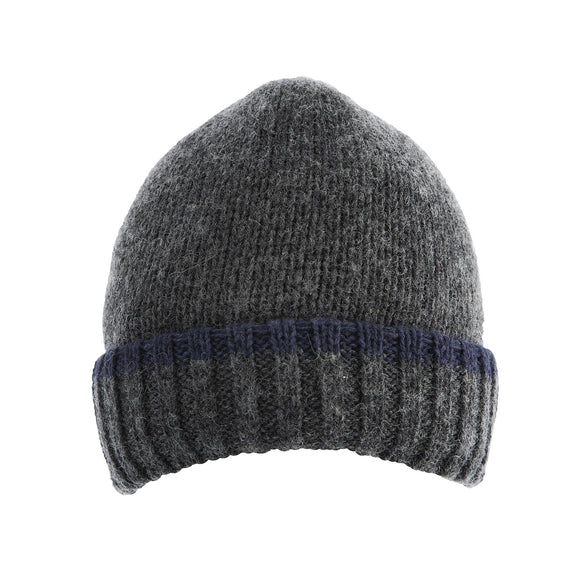 Dents Mens Knitted Beanie Hat in Charcoal and Navy M